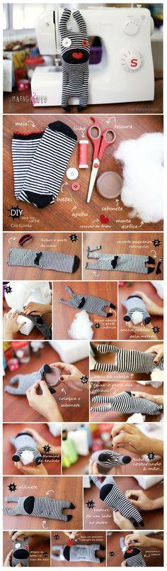 Toy Art - Maenga Toys: #PAP - Sock Toy Sachê - #DIY para o Dia das Mães (Blog Minha Singer)
