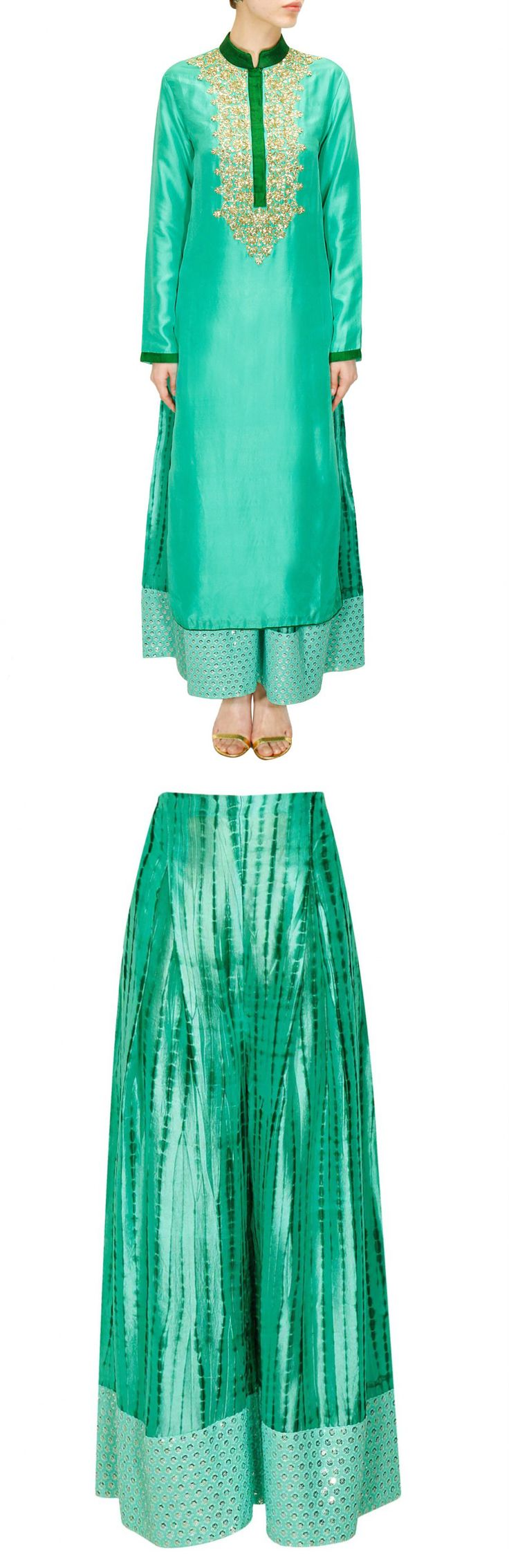 VIKRAM PHADNIS Aqua sequins embroidered kurta with shibori printed pants