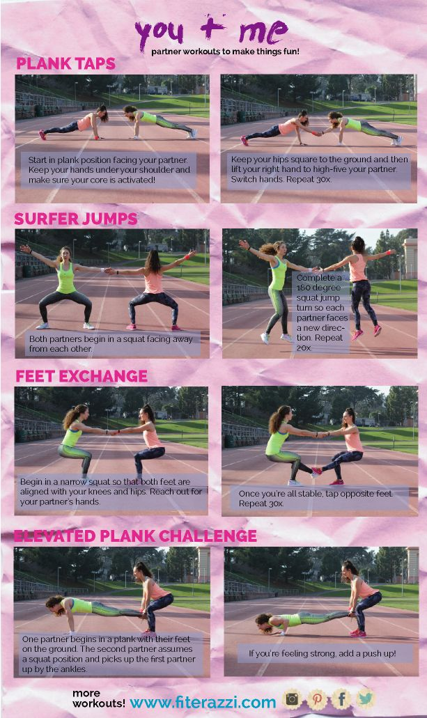 Partner Workouts! So fun and easy! See more workouts at www.fiterazzi.com