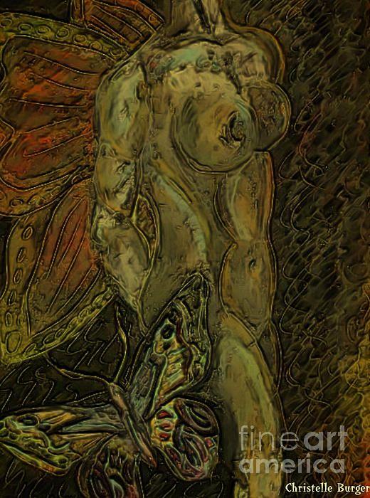 Golden Butterfly Digital Art by Christelle Burger - Golden Butterfly Fine Art Prints and Posters for Salefineartamerica.com
