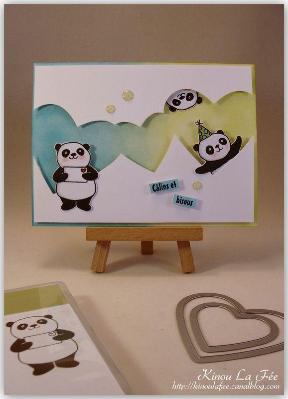 Carte Pandas Festifs Coeurs 1