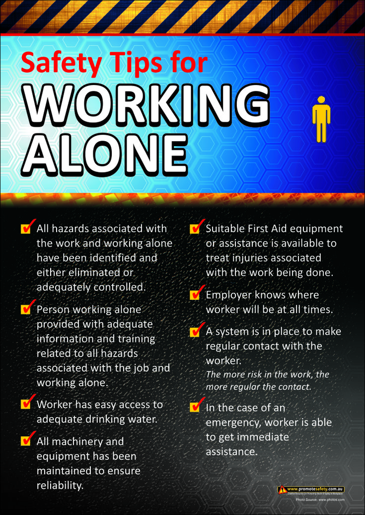 Working Alone Workplace Safety Poster Workplace Safety