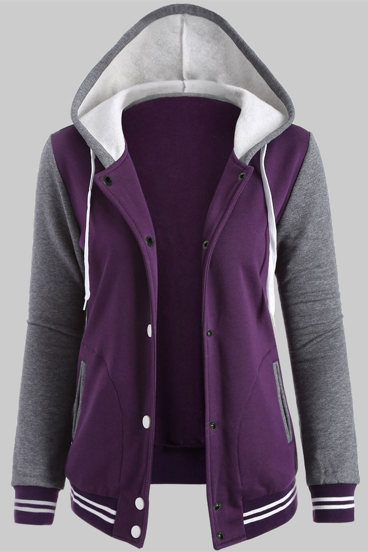 $21.82 Fleece Baseball Hoodie Jacket