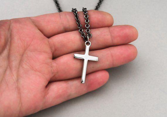 Men Necklace Men Cross Necklace Black Men Necklace Cross Pendant Necklace Cross Necklace Silver Cross Necklace Religious Necklace