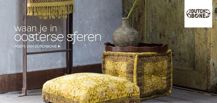 Gele poef met oosterse look van Dutchbone