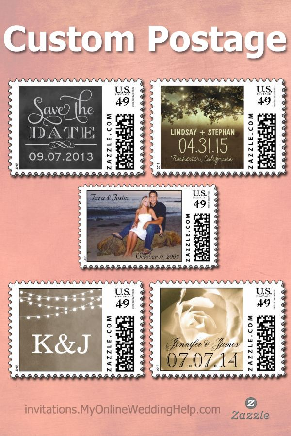This is cool--custom postage to put on wedding invites, save the dates, and RSVP cards. #MyOnlineWeddingHelp