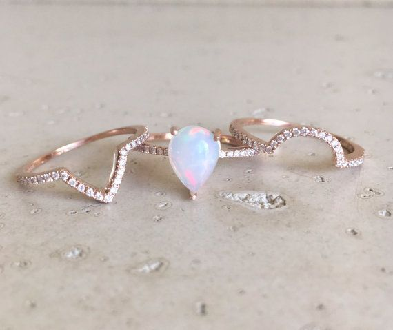 fire opal engagement ring rose gold opal engagement ring pear shape opal engagement ring opal engagement ring set diamond opal ring