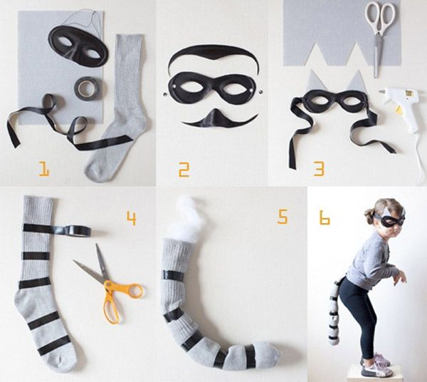 Cómo hacer un disfraz casero de mapache realizando manualidades para ...