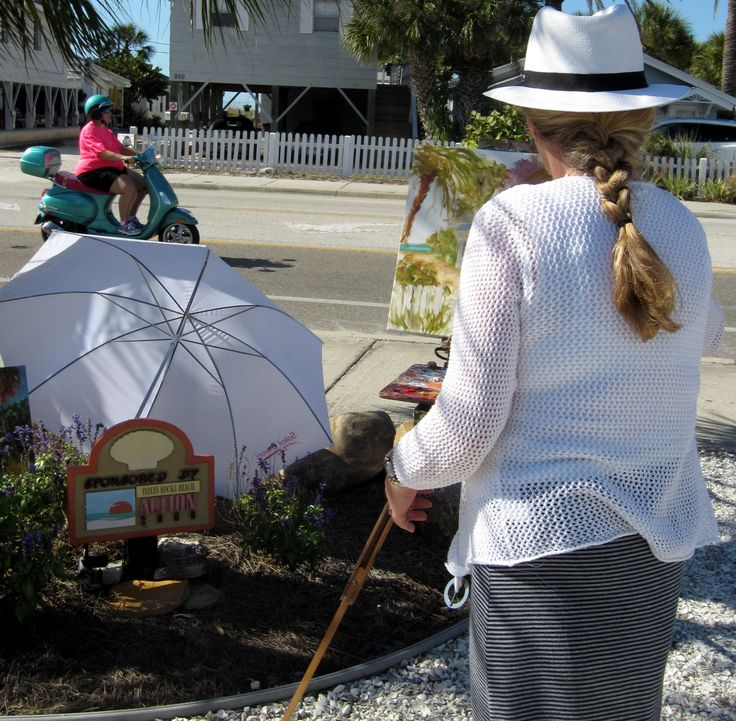 Helen Tilston painting en plein air at Indian Rocks Beach,Florida