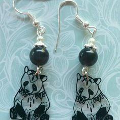 388 - boucles d oreilles panda effet tatouage