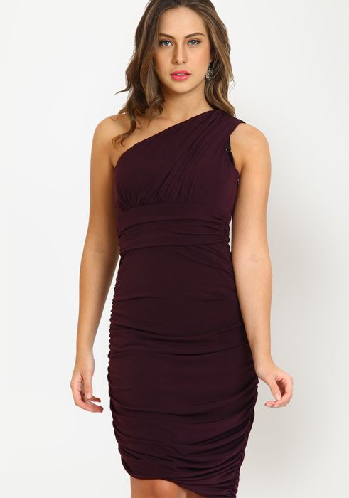 Solid purple bodycon one shoulder dress for parties via @Roposo