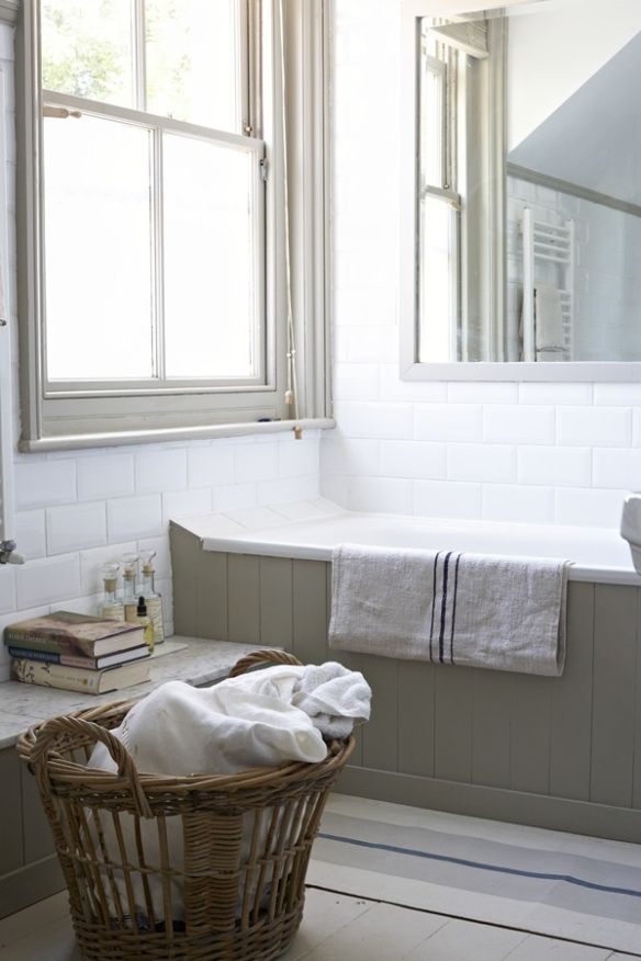 period style white bathroom with tongue and groove