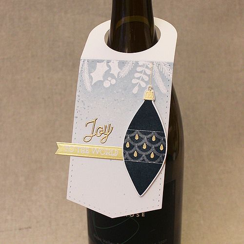 Joy To The World Wine Tag by Lizzie Jones for Papertrey Ink (September 2017)