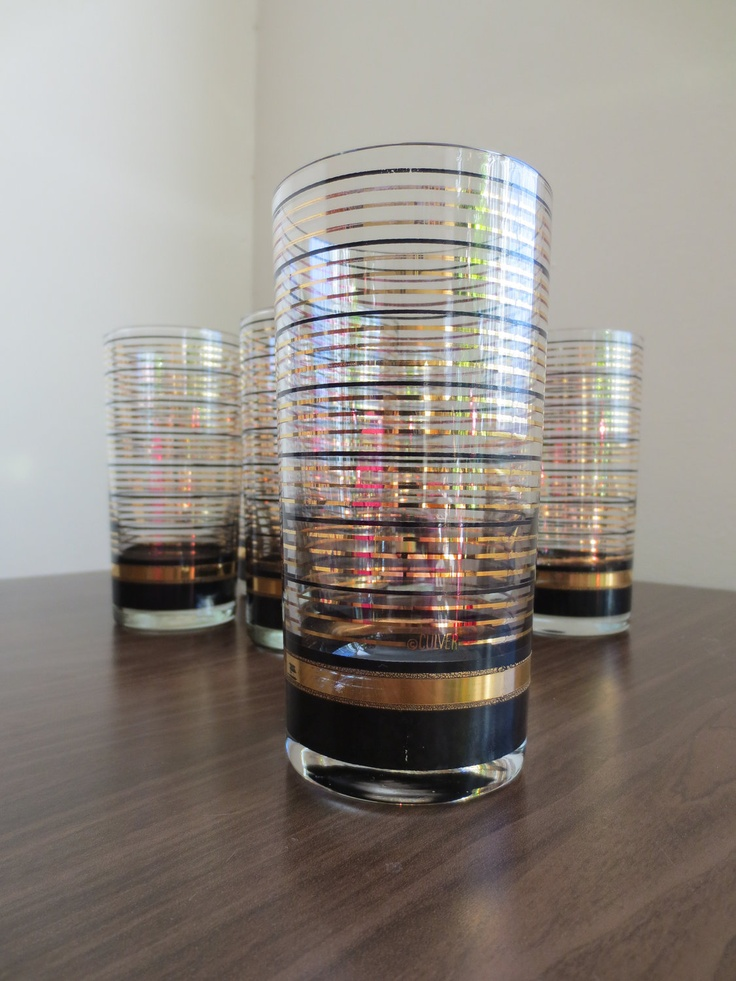 Set of Six Culver Gold and Black Tumblers.
