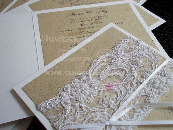 Lace and pearls wedding Invitations Vintage by InvitationsbyTango, $11.75