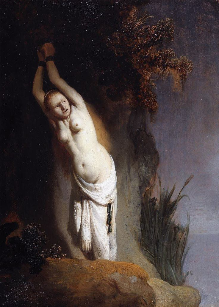 July 15, 1606: Birthday of Rembrandt. Rembrandt van Rijn, Andromeda, c. 1630. Collection of the Mauritshuis, The Hague.