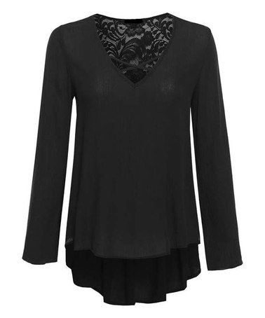 Loving this Black Lace-Accent Cross-Front Tunic on #zulily! #zulilyfinds