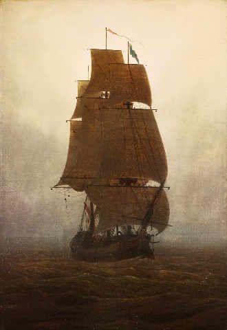 Caspar David Friedrich - Segelschiff im Nebel