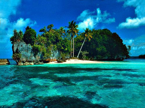 island and turquoise water