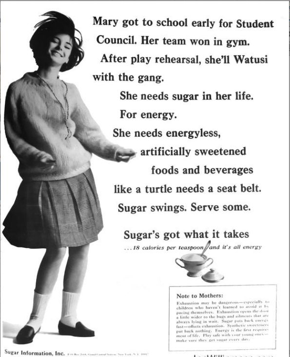 Mid-1960s. Advertising Sugar as a way to curb your appetite and get energy
