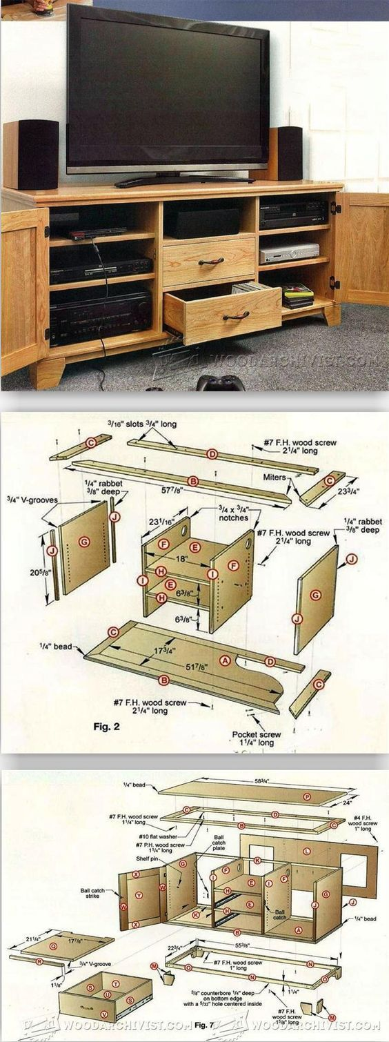 Flat-Panel TV Entertainment Center Plans - Furniture Plans and Projects   WoodArchivist.com
