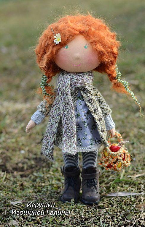 Купить Рыжулька. - зелёный, рыжий, рыжая девочка, рыжая кукла, интерьерная кукла, интерьерная игрушка