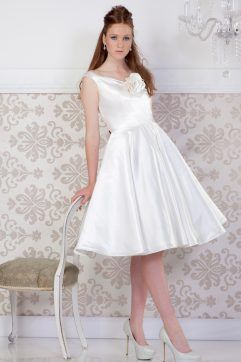 Audrey Lynn Vintage Bridal Emily Dress | Satin tea length wedding dress with V neckline and full circle skirt
