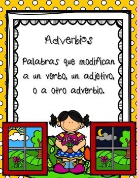 Parts of Speech / Las Partes de la Oracin / AdverbiosThis set has been designed to help students to understand and practice this basic part of speech in Spanish: Adverbs (Adverbios)It includes 13 pages.