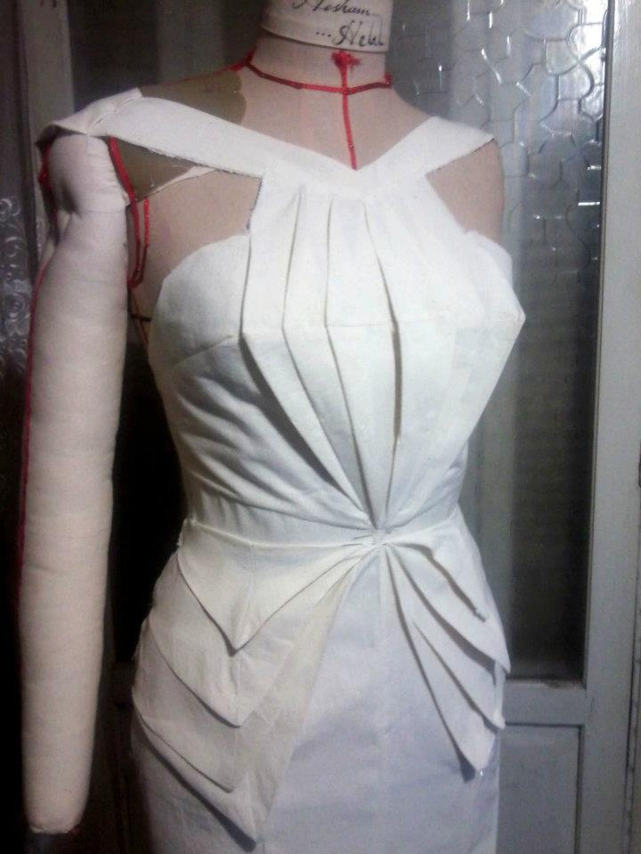 Draping- make the 4 details in to 3 with Sierra Leone Flags colors