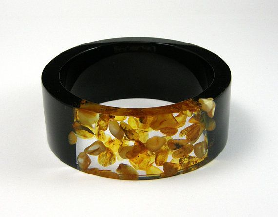 Amber Bracelet Clear and Black Resin Bangle