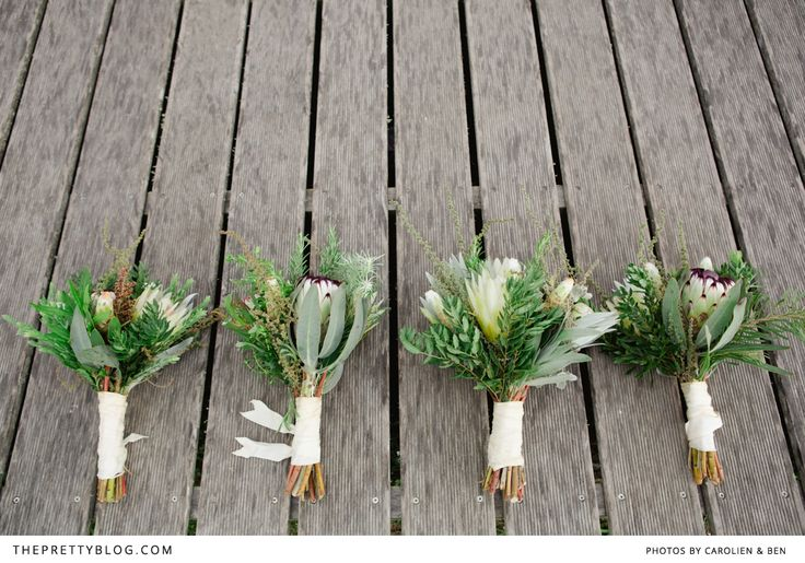 Protea bouquets for bride and bridesmaids