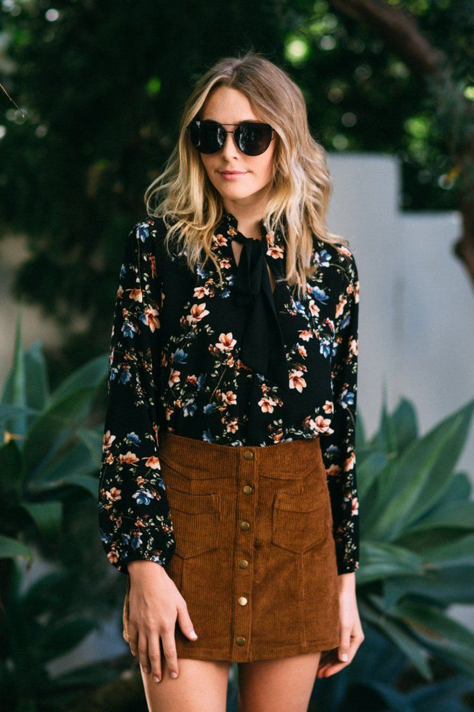 660fefb27ecf82 Corduroy + Florals || The adorable Pennylane Corduroy Skirt features a rich  chestnut hue adorned