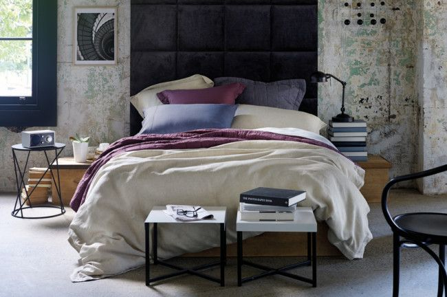 Stunning bedroom featuring finely spun linen in natural and piece dyed muted tones by Sheridan. #bedroom www.homelife.com.au