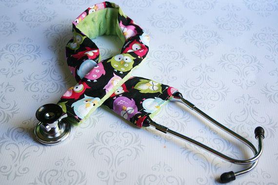 Stetoscopio imbottito Cover - infermiera, medico, studente Med, studente di infermieristica, assistente medico - gufi sonnolenta e verde-su ordinazione