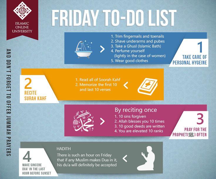 Acts of worship that are prescribed on Fridays. 1 – Salaat al-Jumu'ah (Friday prayer) [al-Jumu'ah 62:9] 2 – Making a lot of du'aa'. [al-Bukhaari, 893; Muslim, 852] 3 – Reading Soorat al-Kahf (Before sun set on Friday). [Saheeh al-Targheeb, 836] 4 – Sending a lot of blessings upon the Prophet (peace and blessings of Allaah be upon him). [Abu Dawood, 1047] #FridayReminder