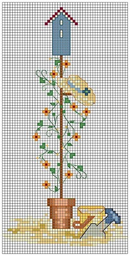Cross-stitch Garden Birdhouse... no color chart available, just use pattern chart as your color guide.. or choose your own colors...