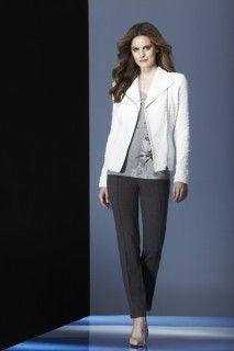 Cream jacket, grey top and saddle brown pant. #fall2014 #fallfashion #fallstyle #fashion #tribalsportswear #simplysumptuous