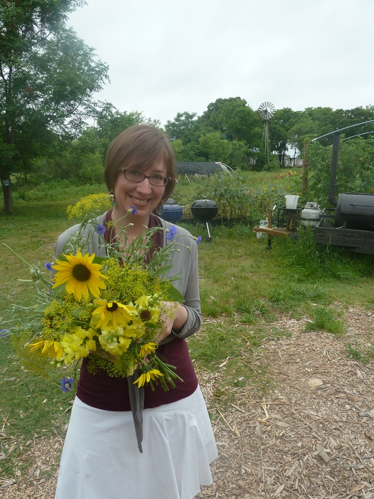 Blue and yellow edible bouquet of sunflowers, dill, bachelor buttons, and snapdragons <3 Green Gate Farms <3 Austin, TX