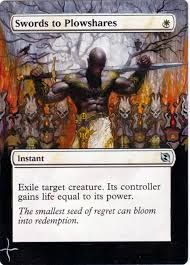 Swords to Plowshares Magic the Gathering MTG altered artwork mtg card artwork Swords to Plowshares MTG art Donnie Dana MTG white card art Magic the Gathering