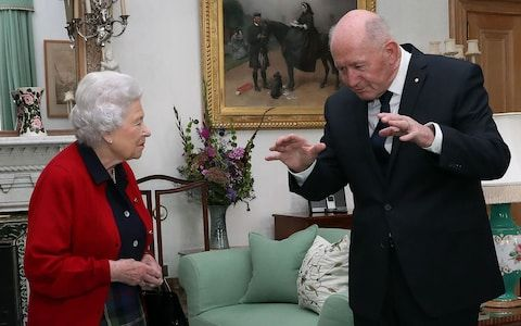 Britain's Queen Elizabeth II speaks with General Sir Peter Cosgrove, the Governor-General of Australia during a private audience in the Drawing Room at Balmoral Castle in Scotland, UK.