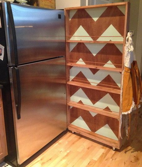 Here is our beautiful Rolling Kitchen Pantry Rack completed and next to our refrigerator
