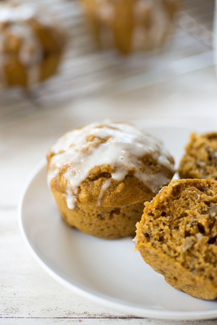 Pumpkin Muffins with Yogurt Glaze - Delish Knowledge