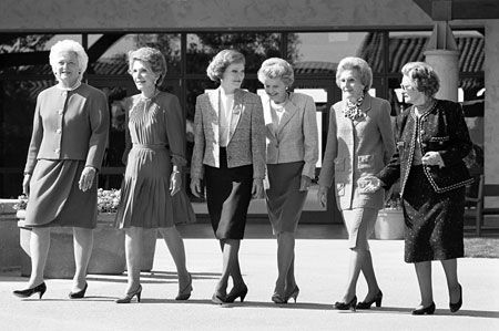 Barbara Bush, Nancy Reagan, Rosalyn Carter, Betty Ford, Pat Nixon, and LadyBird Johnson.   Photo taken at Ronald Reagan Library in Simi Valley, Ca.