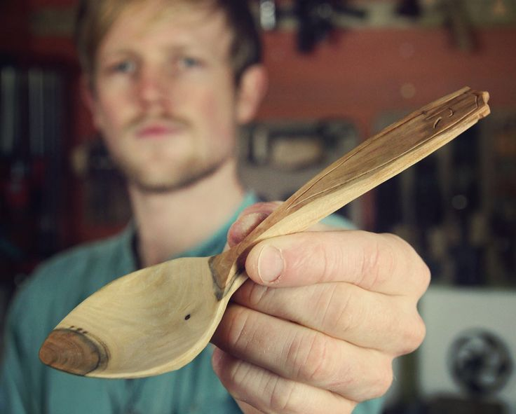 Eating spoon in beautiful and rare plum wood.
