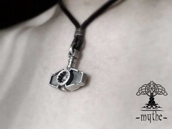 Mens Hammer Necklace Silver Sterling Silver Hammer by LeMythe
