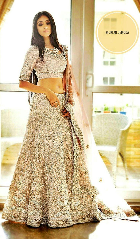 Beige Floral Embroidered Lehenga By Pam Mehta #IndianCouture #IndianFashion #DesiCouture #DesiFashion #Fashion #Style #PamMehta #Designer @CremeDeModa