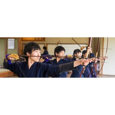 Archery students practicing at Japanese Archery Club Singapore Canvas Art - Panoramic Images (36 x 12)