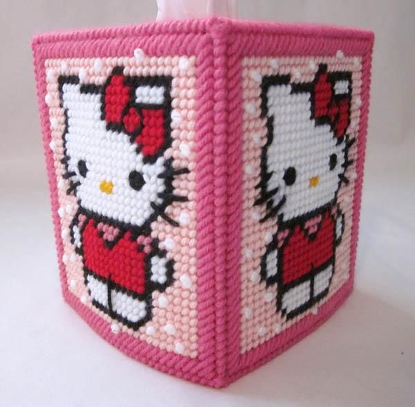 Hello Kitty plastic canvas tissue box cover