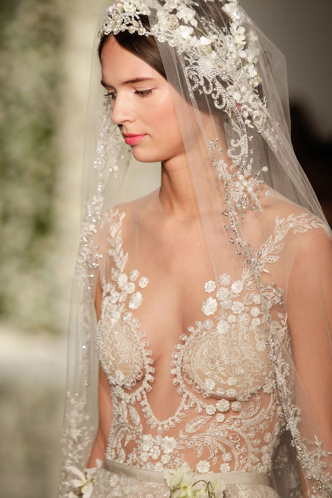 Exquisite detail on this illusion bodice - maybe not for a church wedding??