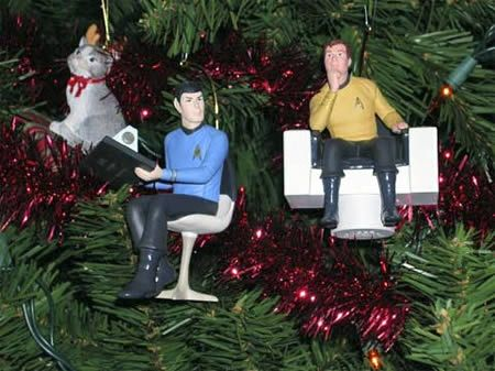 Nothing like Captain Kirk, Spock, and a fuzzy kitty sitting on the bridge that has been placed in a Christmas tree